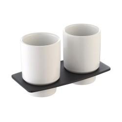 Пара керамических стаканов с настенным держателем Kraus Fortis KEA-13316 ORB
