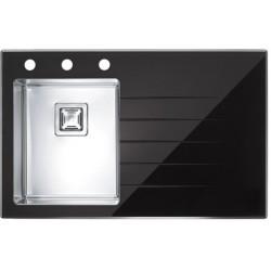 Кухонная мойка Alveus CRYSTALIX 10L черное стекло, левостороняя