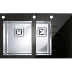 Кухонная мойка Alveus CRYSTALIX 20L черное стекло, левосторонняя