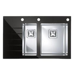 Кухонная мойка Alveus CRYSTALIX 20R черное стекло, правостороняя