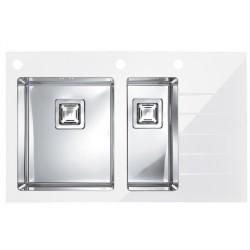 Кухонная мойка Alveus CRYSTALIX 20L белое стекло, левосторонняя