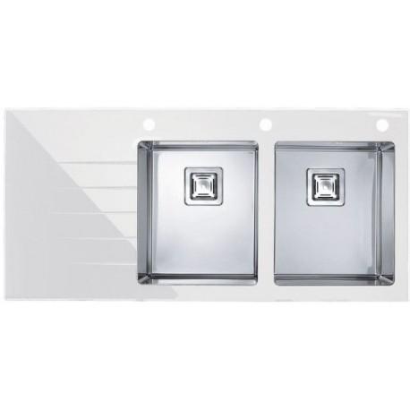 Кухонная мойка Alveus Crystalix 30R белое стекло, правосторонняя