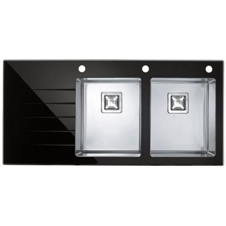 Кухонная мойка Alveus Crystalix 30R черное стекло, правосторонняя