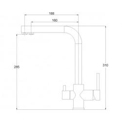 Кухонный смеситель AQUAsanita Akvaduo 2663-601 черный металлик