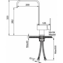 Кухонный смеситель AQUAsanita  Tempus 2033-601 хром/черный металлик