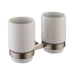 Пара керамических стаканов с настенным держателем Kraus Amnis KEA-11116 BN