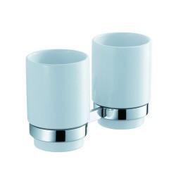 Пара керамических стаканов с настенным держателем Kraus Amnis KEA-11116 CH