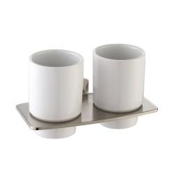 Пара керамических стаканов с настенным держателем Kraus Fortis KEA-13316 BN