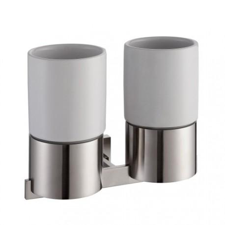 Пара керамических стаканов с настенным держателем Kraus AURA KEA-14416 BN