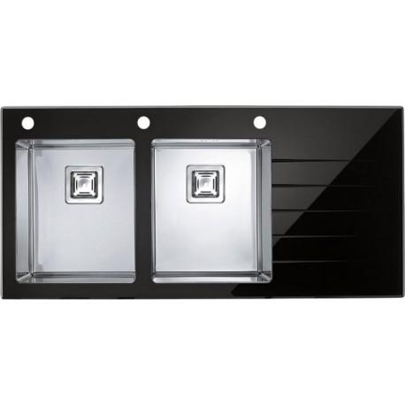 Кухонная мойка Alveus Crystalix 30L черное стекло, левосторонняя