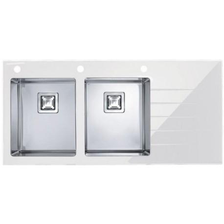 Кухонная мойка Alveus Crystalix 30L белое стекло, левосторонняя