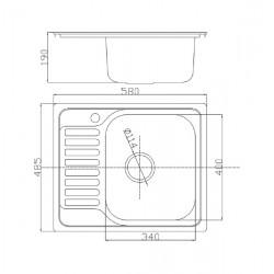 Кухонная мойка Fabiano/Ula 580х485 микродекор