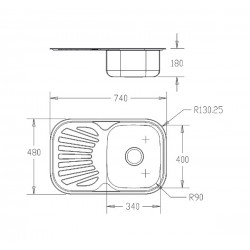 Кухонная мойка Fabiano/Ula 740х480 микродекор