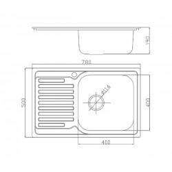 Кухонная мойка Fabiano/Ula 780х500 микродекор