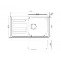Кухонная мойка Fabiano/Ula 780х430 микродекор