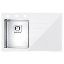 Кухонная мойка Alveus CRYSTALIX 10L белое стекло, левостороняя