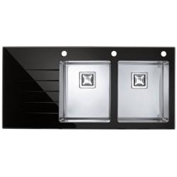 Кухонная мойка Alveus Crystalix 30R черное стекло,