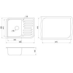Кухонная мойка Minola MPG 1145-70 графит