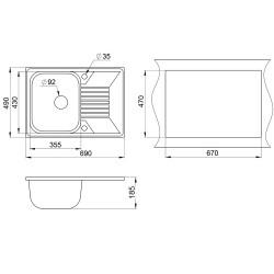 Кухонная мойка Minola MPG 1150-69 песок