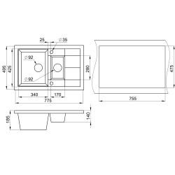 Кухонная мойка Minola MPG 5360-77 антик