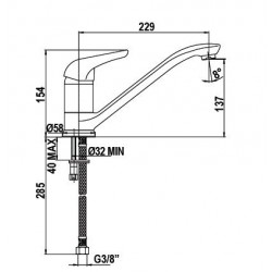 Смеситель кухонный SCHOCK Aqualux Chrom mat-81 (72900081)