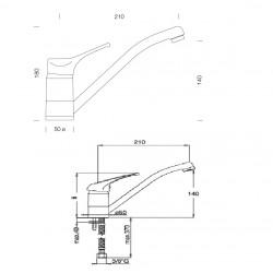 Смеситель кухонный SCHOCK LEVA Inox-12 (51100012)