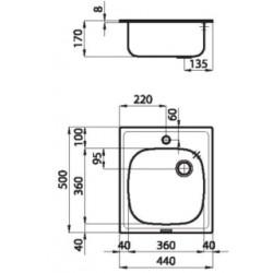"""Кухонная мойка Foster S1000 44.1V.3,5"""" полированная"""