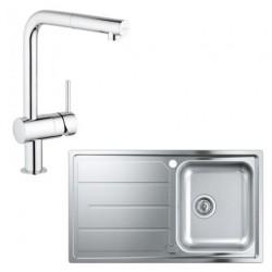 Кухонная мойка Grohe Sink 31573SD0 со смесителем Minta 32168000