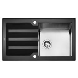 Кухонная мойка Teka LUX 1B 1D 86 REV черное стекло