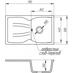 Кухонная мойка GF 79x50 BLA-03 черный