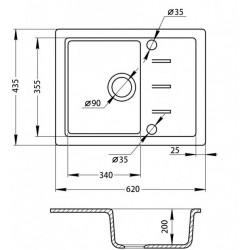 Кухонная мойка GF 62x43.5 WHI-01 белый