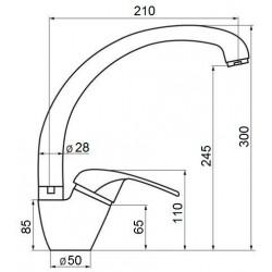 Смеситель кухонный GF (WHI)/S-03-012F