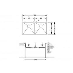 Кухонная мойка Fabiano Quadro 87x44 микродекор