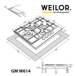 Варочная поверхность WEILOR GM W614 WH