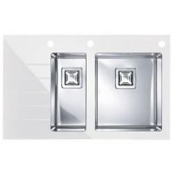 Кухонная мойка Alveus CRYSTALIX 20R белое стекло, правостороняя