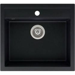 Гранитная мойка AQUASanita QUADRO SQQ100 черный металлик (601)